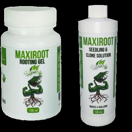 MAXIROOT Organic Seedling & Clone Solution Fertilizer & Organic Rooting Gel